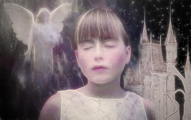 Obraz dievčaťa v bielych šatách, ktoré sníva.jpg
